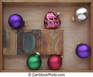 joy word with ornaments