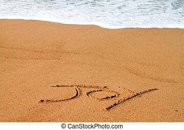 joy written on beach