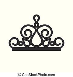 joyas, desfile, corona, icono, estilo, glyph, belleza