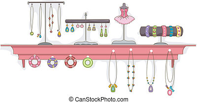 joyas, estante, exhibición