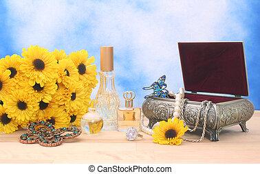 joyas, y, perfume, con, flores