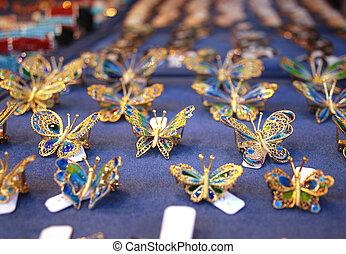 joyería, formado, como, mariposas