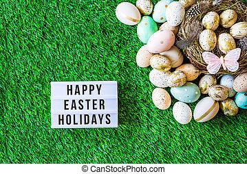 joyeuses pâques, fetes, écrit, dans, lightbox, à, paques, décorations, au-dessus