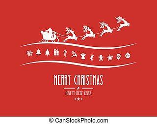 joyeux, éléments, fond, santa, traîneau, noël, rouges