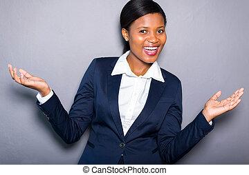 joyeux, américain africain, femme affaires