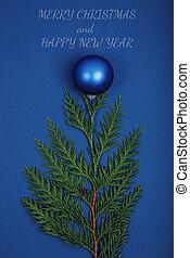 joyeux, année, noël, nouveau, composition., heureux