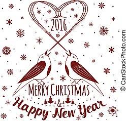 joyeux, année, noël., nouveau, vacances, carte, heureux