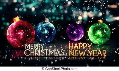 joyeux, année, nouveau, noël, boucle, heureux