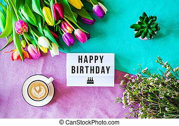 joyeux anniversaire, écrit, dans, lightbox, à, fleurs ressort, au-dessus