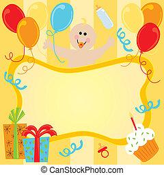 joyeux anniversaire, bébé, invitation