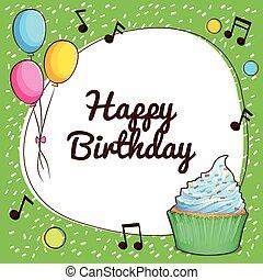 joyeux anniversaire, ballons, carte, petit gâteau