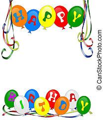 joyeux anniversaire, ballons, invitation