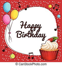 joyeux anniversaire, ballons, signe, petit gâteau
