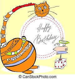 joyeux anniversaire, carte, chat
