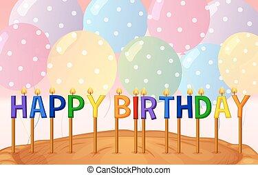 joyeux anniversaire, carte, gabarit, à, ballons, et, bougies