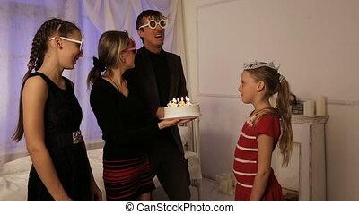 joyeux anniversaire, gâteau, enfants