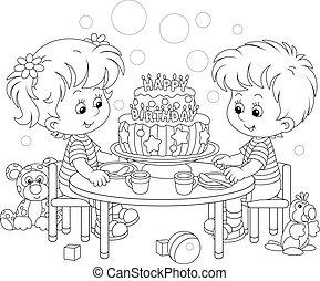 joyeux anniversaire, petit gâteau, fantaisie, enfants