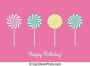 joyeux anniversaire, sucettes, carte, salutation
