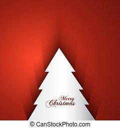 joyeux, coloré, arbre, clair, vecteur, arrière-plan rouge, noël carte