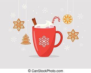 joyeux, concept, hiver, grand, scène, illustration, cacao, grande tasse, vecteur, fait maison, noël, pain épice