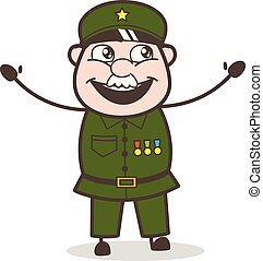 joyeux, expression, sergent, dessin animé