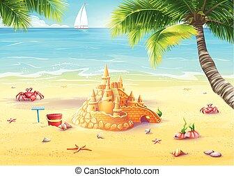 joyeux, illustration, champignons, mer sable, château, vacances