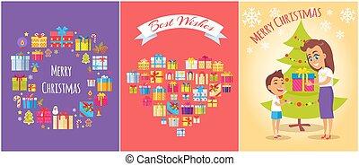 joyeux, illustration, fils, vecteur, maman, noël