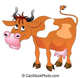 joyeux, illustration, vache