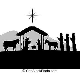 joyeux, joseph, vecteur, gra, icon., noël, design., maria, jésus