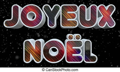joyeux, kerstmis, 3d, glanzend, en, kleurrijke, tekst