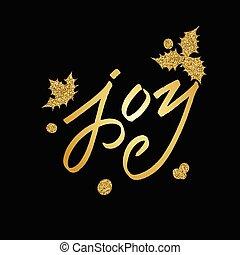 joyeux, lettrage, noël carte, salutation
