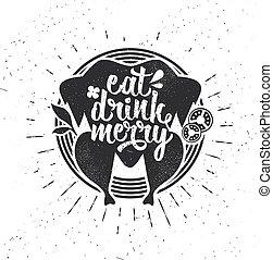 joyeux, lettrage, poster., card., être, inspirationnel, veille, goose., boisson, typographie, nouveau, main, typography., manger, vecteur, rôti, année, dessiné, vacances, noël