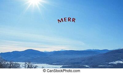 joyeux, lettrage, sentiment, nature hiver, texte, snowly, salutation, écriture, animation, vidéo, card., fond, main, blanc, calligraphie, noël, heureux