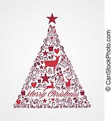 joyeux noël, arbre, forme, à, rouges, reindeers, et, hiver, éléments, composition., eps10, vecteur, fichier, organisé, dans, couches, pour, facile, editing.