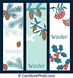 joyeux noël, bannières, à, stylisé, hiver, branches.