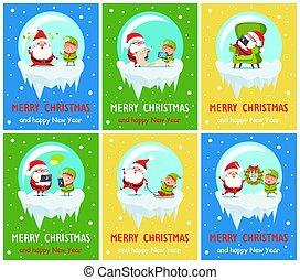 joyeux noël, bonne année, santa, elfe, bannières