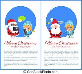 joyeux noël, bonne année, santa, neige, jeune fille