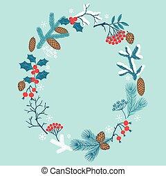 joyeux noël, cadre, à, stylisé, hiver, branches.