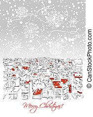 joyeux noël, carte postale, à, cityscape, fond