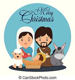 joyeux, noël famille, scène, nativité, saint