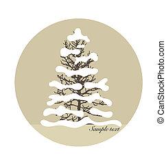 joyeux noël, fond, à, noël, arbre., vecteur, illustrat
