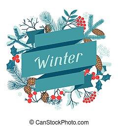 joyeux noël, fond, à, stylisé, hiver, branches.