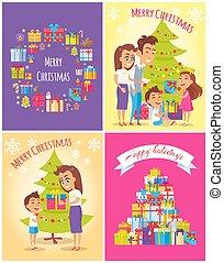 joyeux noël, heureux, fetes, carte postale, ensemble, vecteur