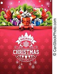 joyeux noël, heureux, fetes, illustration, à, typographique, conception, et, boîte-cadeau, sur, rouges, flocons neige, modèle, arrière-plan.