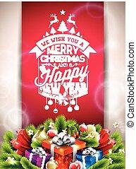 joyeux noël, heureux, fetes, illustration, à, typographique, conception, et, boîte-cadeau, sur, rouges, arrière-plan.