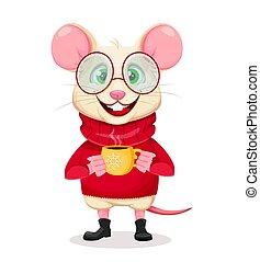 joyeux noël, heureux, nouveau, rigolote, rat, year.