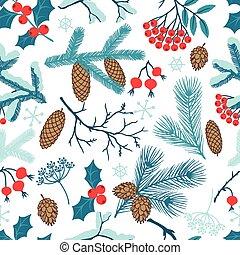 joyeux noël, seamless, modèle, à, hiver, branches.