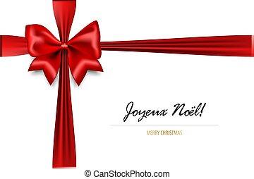 Holiday Christmas red gift silk bow - Joyeux Noel - Merry...