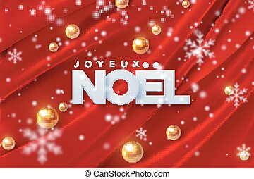 Joyeux Noel. Merry Christmas. Vector illustration. Holiday...