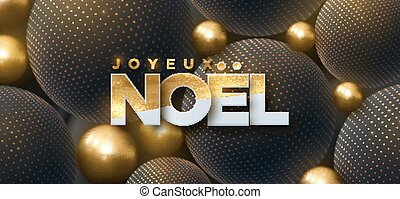 Joyeux Noel. Merry Christmas. Vector typography...